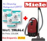 Miele Bodenstaubsauger Classic C1 EcoLine Mangorot - inkl. 30 Staubsaugerbeutel }]