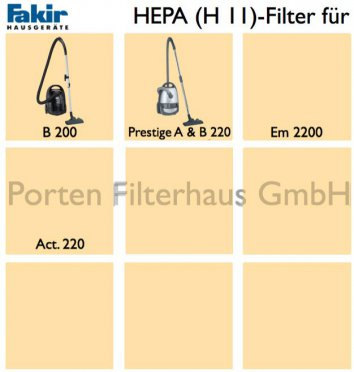Fakir HEPA-Filter (H11) Bestell-Nr. 2728860