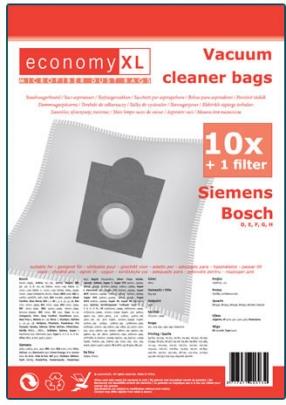economy XL - SI08 - 10 Staubsaugerbeutel geeignet für Siemens D, E, F, G, H