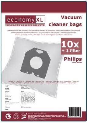 Economy XL - 10 Staubsaugerbeutel geeignet für Philips Oslo, Vision