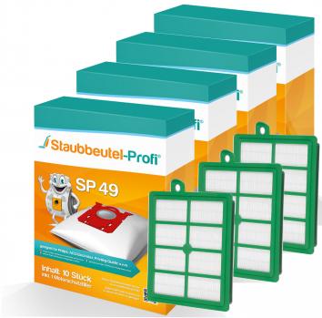 Staubbeutel-Profi SP49 40 Staubsaugerbeutel + 3 Hepafilter 006 Made in Germany