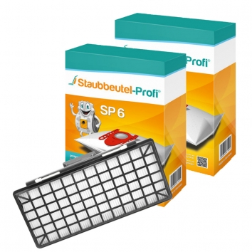 Staubbeutel-Profi SP6, 20 Staubsaugerbeutel und 1 Hepafilter kompatibel mit VZ154
