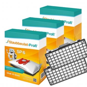 Staubbeutel-Profi SP6, 30 Staubsaugerbeutel und 2 Hepafilter kompatibel mit VZ154